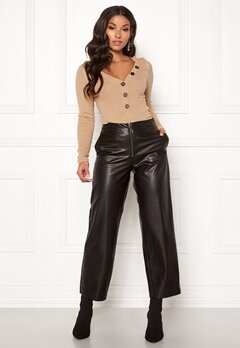 ONLY Hannah Wide Fit PU Pants Black Bubbleroom.fi