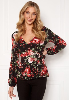 Happy Holly Amanda puff sleeve wrap top Black / Patterned Bubbleroom.fi