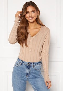Happy Holly Anabelle Knitted collar Top Beige Bubbleroom.fi