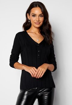 Happy Holly Anabelle Knitted collar Top Black bubbleroom.fi