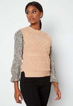 Happy Holly Ariana knitted vest Light beige bubbleroom.fi