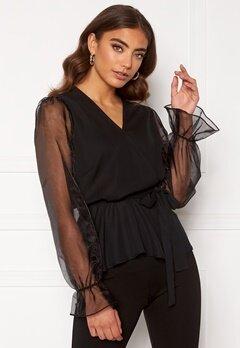 Happy Holly Athena bow sleeve blouse  Black Bubbleroom.fi
