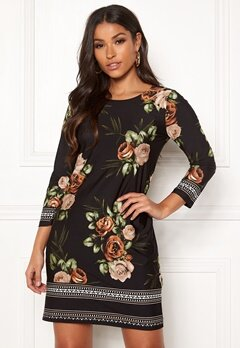 Happy Holly Blenda dress Brown / Floral Bubbleroom.fi