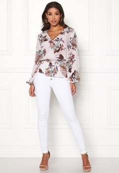 Happy Holly Brea wrap blouse Offwhite / Patterned Bubbleroom.fi