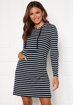 Happy Holly Camila striped tricot hood Dark blue / Striped Bubbleroom.fi