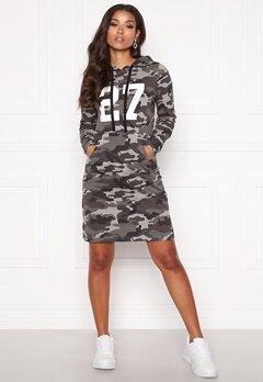 Happy Holly Camila tricot hood Grey melange / Camouflage Bubbleroom.fi