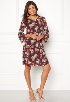 Happy Holly Charlene dress Wine-red / Patterned Bubbleroom.fi