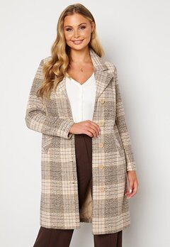 Happy Holly Corinne checked coat Beige / Checked Bubbleroom.fi