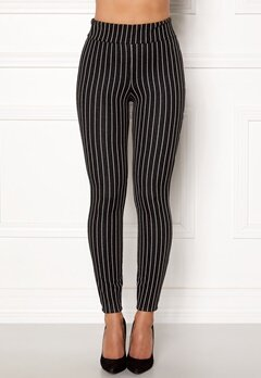 Happy Holly Ditte pin-stripe leggings Black / Striped Bubbleroom.fi