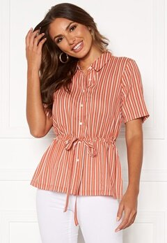 Happy Holly Ebba shirt blouse Coral / Striped Bubbleroom.fi