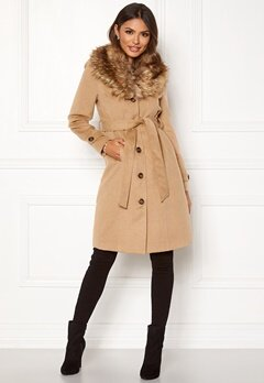 Happy Holly Elisa coat with belt Camel Bubbleroom.fi