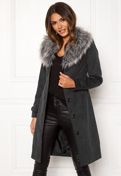 Happy Holly Elisa coat with belt Dark grey melange Bubbleroom.fi
