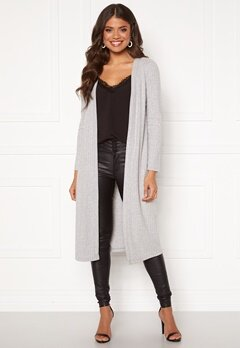 Happy Holly Elly long rib cardigan Light grey melange Bubbleroom.fi