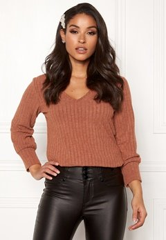 Happy Holly Elly puff sleeve top Cinnamon Bubbleroom.fi