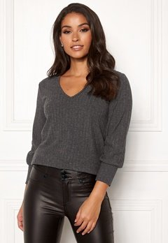 Happy Holly Elly puff sleeve top Dark grey melange Bubbleroom.fi