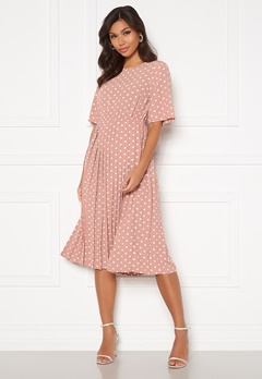 Happy Holly Eloise pleated dress Pink / Dotted Bubbleroom.fi