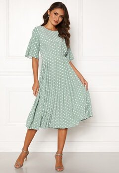Happy Holly Eloise pleated dress Light mint / Dotted Bubbleroom.fi