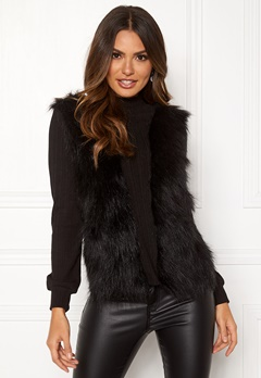 Happy Holly Emilia fur sweater  Black Bubbleroom.fi