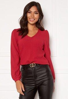 Happy Holly Emilia ls sleeve puff top  Dark red Bubbleroom.fi