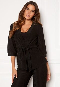 Happy Holly Estelle lurex kimono jacket Black Bubbleroom.fi