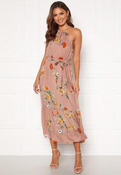 Happy Holly Eva halterneck dress Dusty pink / Patterned Bubbleroom.fi