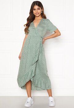 Happy Holly Evie wrap dress Dusty green / Offwhite Bubbleroom.fi