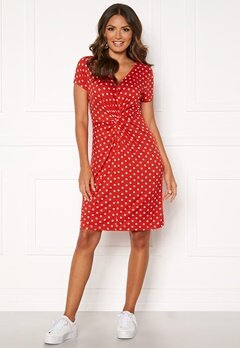 Happy Holly Fiona dress Coral red / Dotted Bubbleroom.fi