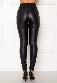 Happy Holly Freja push-up coated treggings Black Bubbleroom.fi
