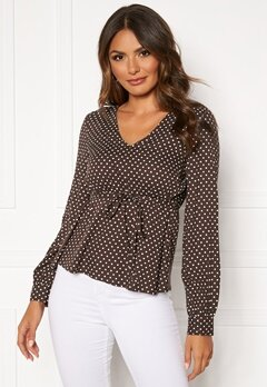 Happy Holly Frida blouse Brown / Dotted Bubbleroom.fi