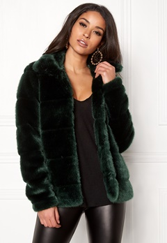 Happy Holly Gia fur jacket Dark green Bubbleroom.fi