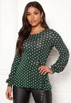 Happy Holly Gianna top Dark green / Dotted Bubbleroom.fi