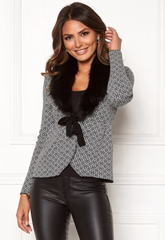Happy Holly Hannah fur cardigan Black / Offwhite Bubbleroom.fi