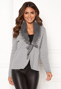 Happy Holly Hannah fur cardigan Grey / Offwhite Bubbleroom.fi