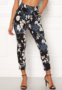 Happy Holly Hazel tricot pants Black / Patterned Bubbleroom.fi