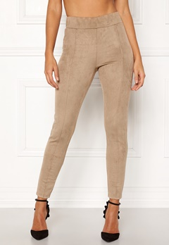 Happy Holly Ida suede look leggings Beige Bubbleroom.fi