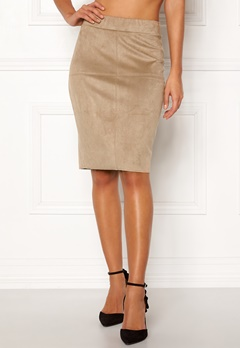 Happy Holly IDA suede look skirt Beige Bubbleroom.fi