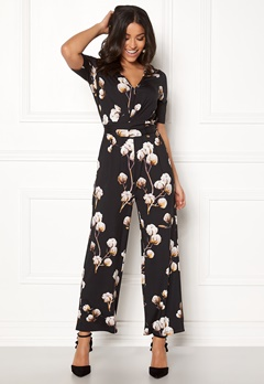 Happy Holly Iman ss jumpsuit Black / Patterned Bubbleroom.fi