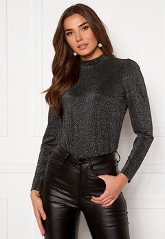 Happy Holly Jennie turtleneck Lurex top Black / Silver Bubbleroom.fi