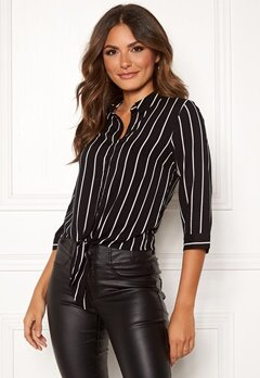 Happy Holly Juliette ss knot shirt Black / Striped Bubbleroom.fi