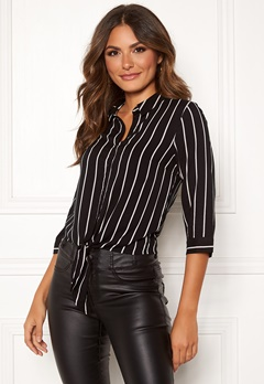 Happy Holly Juliette ss knot shirt Black / Striped Bubbleroom.fi