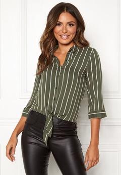 Happy Holly Juliette ss knot shirt Khaki green / Striped Bubbleroom.fi