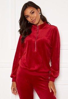 Happy Holly Kaylee velour zip top Red Bubbleroom.fi