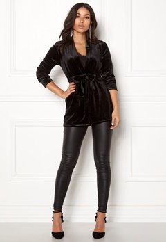 Happy Holly Kiara velour blazer Black Bubbleroom.fi