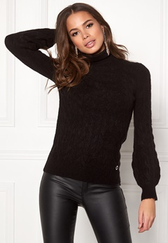 Happy Holly Kira cable knitted sweater Black Bubbleroom.fi