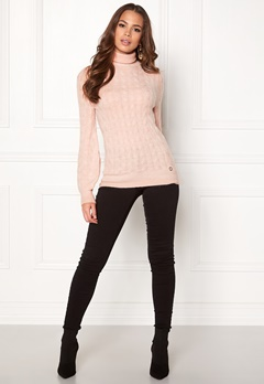 Happy Holly Kira cable knitted sweater Light pink / Melange Bubbleroom.fi