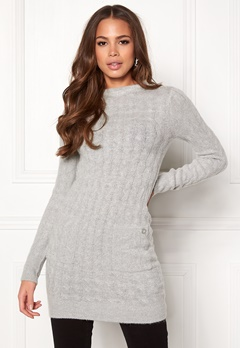 Happy Holly Kira cable sweater dress Grey melange Bubbleroom.fi