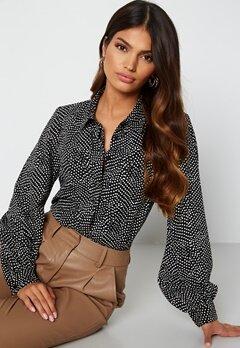 Happy Holly Laura puff sleeve blouse Black / White bubbleroom.fi