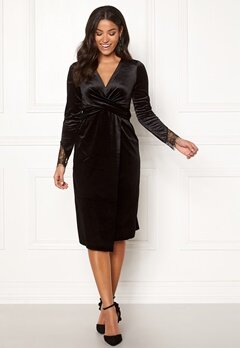 Happy Holly Leonora velvet dress Black Bubbleroom.fi