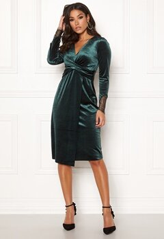 Happy Holly Leonora velvet dress Dark green Bubbleroom.fi