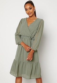 Happy Holly Linn midi Long Sleeve Dress Dusty green Bubbleroom.fi